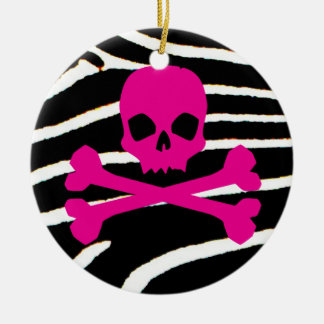 Punk Skull Ceramic Ornament