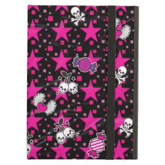 Punk Skulls and Candy Pattern on Pink Stars iPad Air Covers