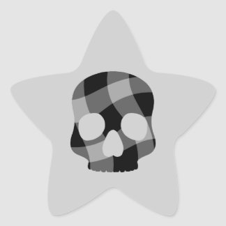 Punk twisted gingham skull star star sticker