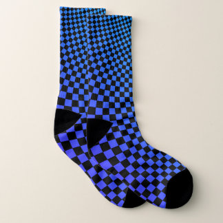 Punk warped checkerboard pattern socks
