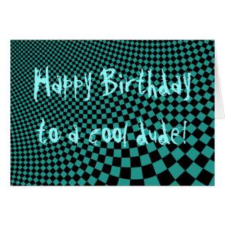 Punk warped retro checkerboard Happy Birthday dude Card