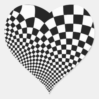 Punk warped retro checkerboard in black and white heart sticker