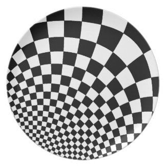 Punk warped retro checkerboard in black and white party plates