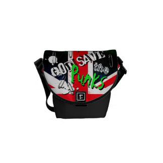 Punks not Dead God Save Punks Grunge Union Jack Messenger Bag