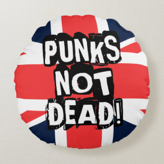 Punks Not Dead Round Pillow