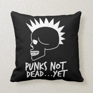 Punks Not Dead...Yet Skull Dark Throw Pillow