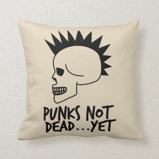 Punks Not Dead...Yet Skull White Throw Pillow