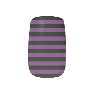Punky Goth Black and Purple Stripes Minx Nail Art