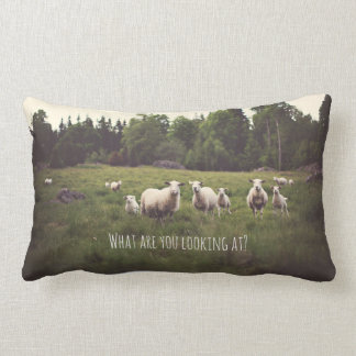 Punny White Sheep & lambs in lush green pasture Lumbar Pillow