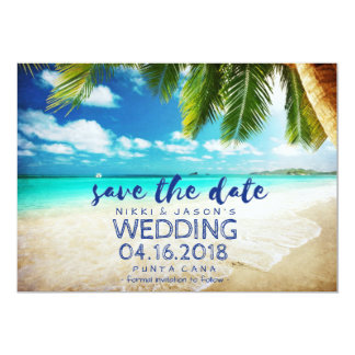 "Punta Cana Beach Destination Wedding Save Dates 5"" X 7"" Invitation Card"