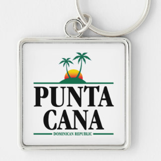 Punta Cana Silver-Colored Square Keychain