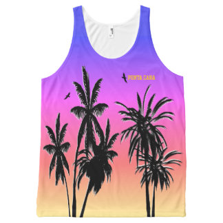 Punta Cana Sunset Customize Purple Fade Palm Trees All-Over-Print Tank Top