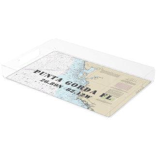 Punta Gorda FL Nautical Chart Latitude Longitude Acrylic Tray