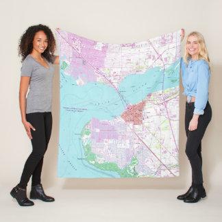 Punta Gorda & Port Charlotte Florida Map (1957) Fleece Blanket