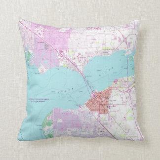 Punta Gorda & Port Charlotte Florida Map (1957) Throw Pillow