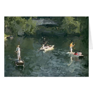 Punting on the river greeting card
