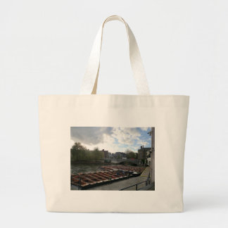 Punts on the River Cam in Cambridge Canvas Bags