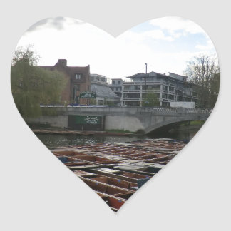 Punts on the River Cam in Cambridge Heart Sticker