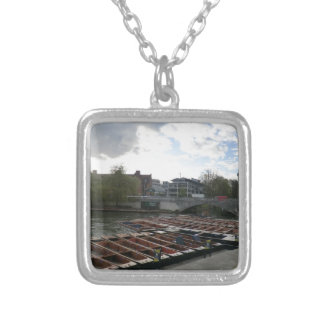 Punts on the River Cam in Cambridge Personalized Necklace
