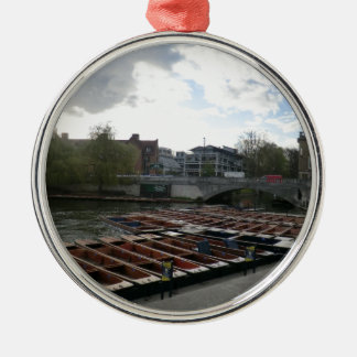 Punts on the River Cam in Cambridge Silver-Colored Round Ornament