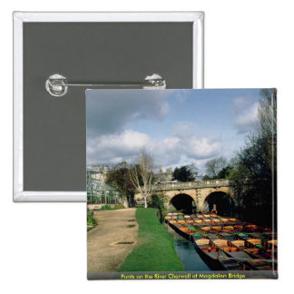 Punts on the River Cherwell at Magdalen Bridge Pinback Button