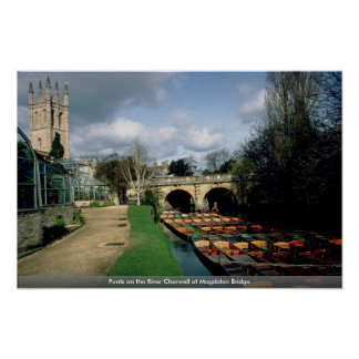 Punts on the River Cherwell at Magdalen Bridge Print