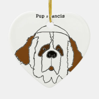 Pup Francis for Small Items Ceramic Heart Ornament