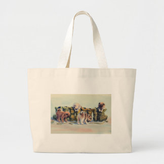 PUP in BOOTS by SHARON SHARPE Large Tote Bag