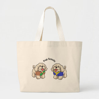 PUP SCOUT MASCOTS TOGETHER LARGE TOTE BAG