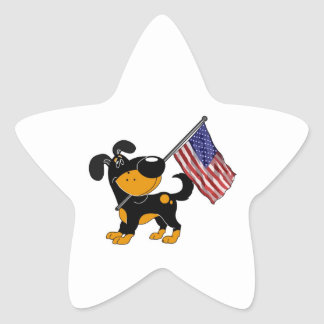 Pup with Flag Star Sticker