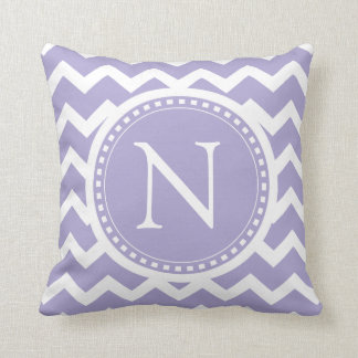 Puple Lilac Chevron Girly ZigZag Monogram Throw Pillow