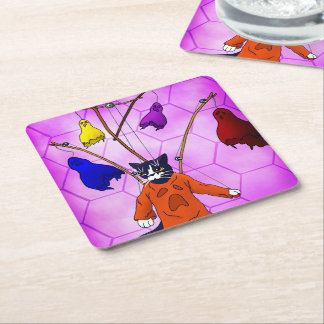 Puppet Master Cat Square Paper Coaster