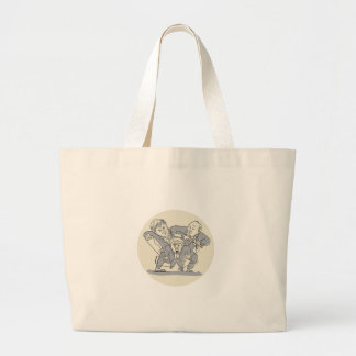 Puppeteers Fighting Over Puppet Oval Cartoon Large Tote Bag