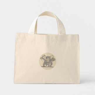 Puppeteers Fighting Over Puppet Oval Cartoon Mini Tote Bag