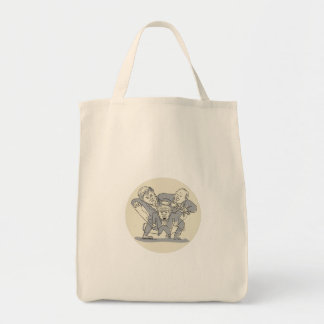 Puppeteers Fighting Over Puppet Oval Cartoon Tote Bag