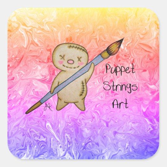 PuppetStringsArt Puppet Logo Square Sticker