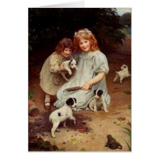 Puppies and a Bullfrog, Card