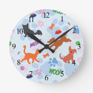 Puppies and Kittens Round Clock