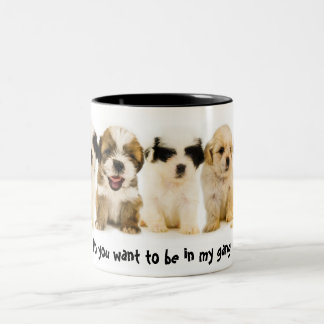 Puppies Do you want to be in my gang Two-Tone Coffee Mug