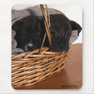 Puppies in a basket mouse pad
