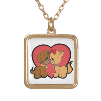 Puppies in Love Gold Plated Necklace