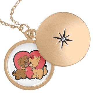 Puppies in Love Locket Necklace