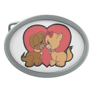 Puppies in Love Oval Belt Buckles