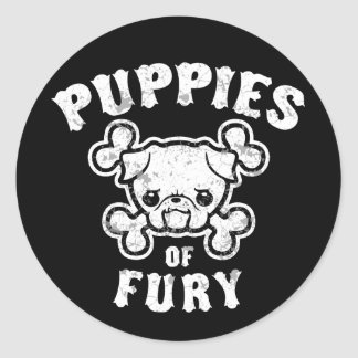 Puppies of Fury Classic Round Sticker