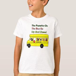 Puppies On School Bus Kids T- Shirt