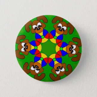 Puppies with colourful balls 2 inch round button