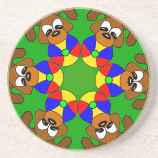 Puppies with colourful balls coaster
