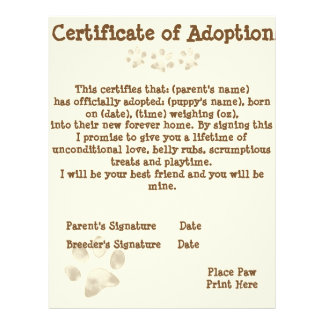 Puppy Adoption Certificate Customized Letterhead