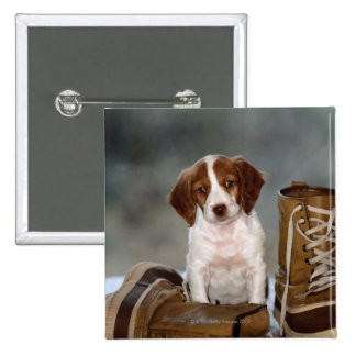 Puppy and Boots 2 Inch Square Button