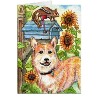 Puppy and Chipmunk by Mailbox Card